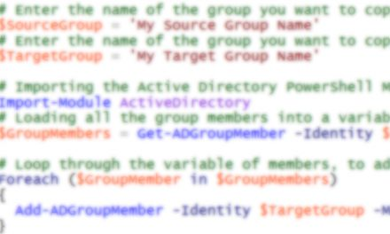 Copy users from one AD group to another using PowerShell