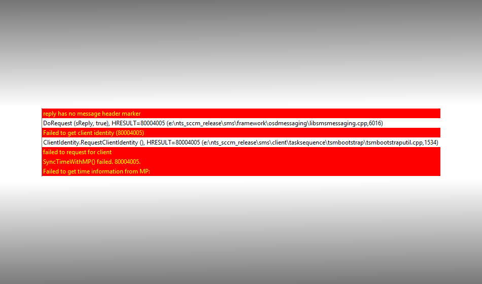 Failed to get client identity (80004005) and SyncTimeWithMP() failed. 80004005